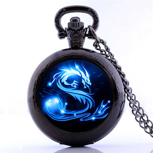 Blue Dragon  Pocket Watch Necklace