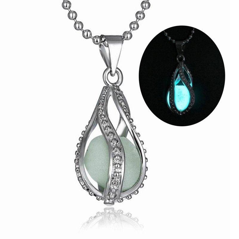 Steampunk Water Drop Glow In The Dark Necklace