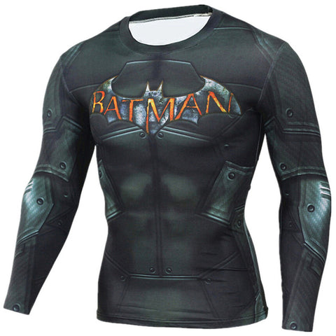 Image of Captain America  Iron man Superhero Compression  T Shirt Men 3D