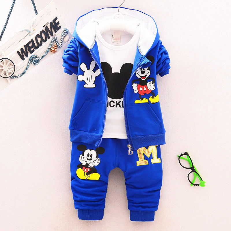 Mickey 3 Piece Sets Hoodie Coat Suits Fall Cotton Baby Boys Clothes Mickey
