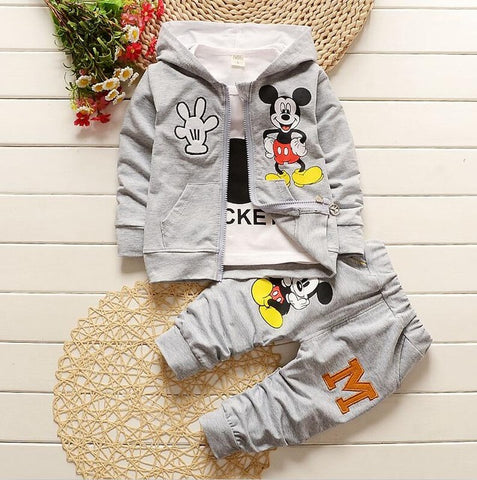 Image of Mickey 3 Piece Sets Hoodie Coat Suits Fall Cotton Baby Boys Clothes Mickey