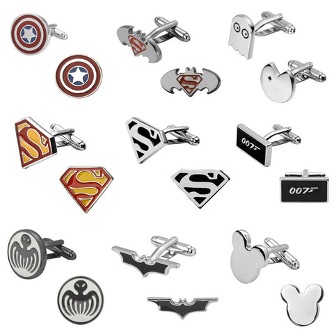 Image of Superman superhero Batman Pacman 007 Cufflinks