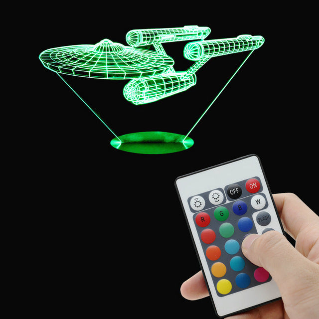 3D Star Trek Battleship Night Light  Color changing Wood Touch Remote Control LED