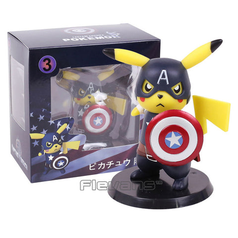 Image of Deadpool Captain America Pikachu Mini PVC Figure Collectible Model Toys Small Size 10cm