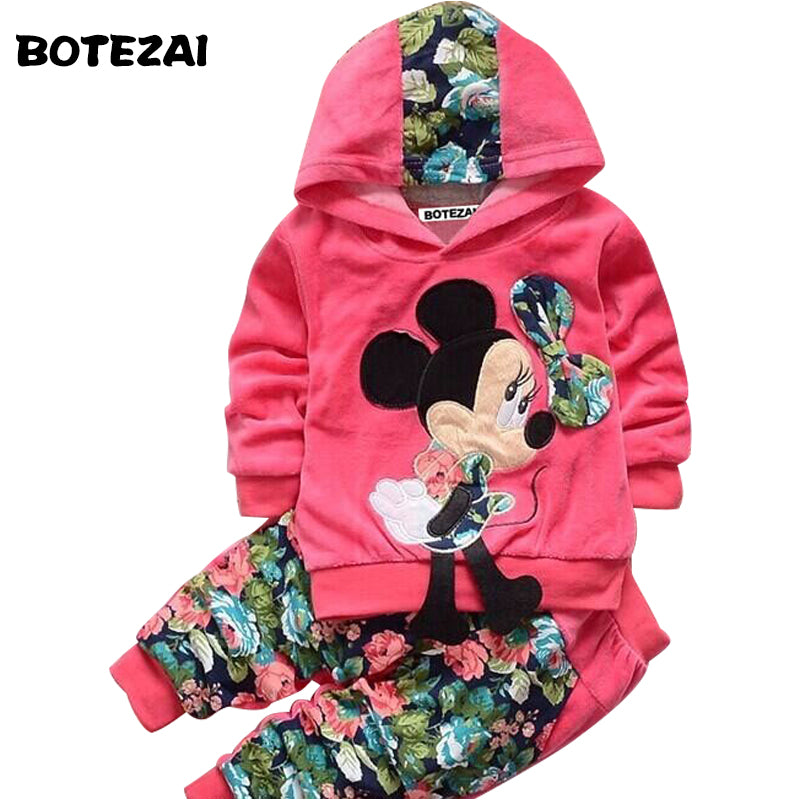 Mickey Baby Girls Set Long Sleeve Hoodies+Flower Pants Kids