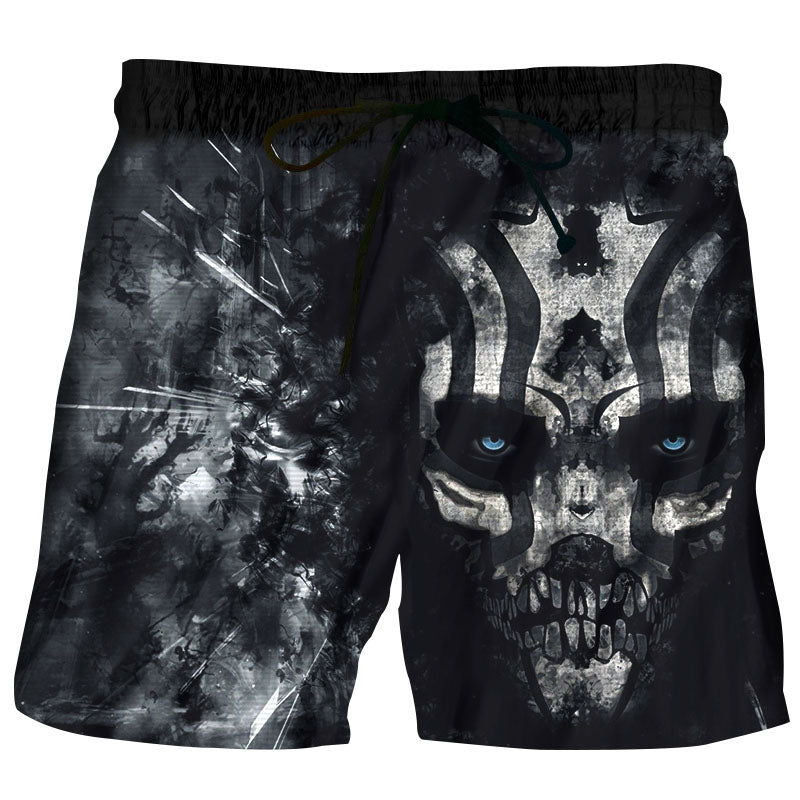 Men Shorts Beach Trunks Anime Black Horror Skull 3D Print New Men's Bermuda Hawaii Fitness Board Shorts Quick Dry