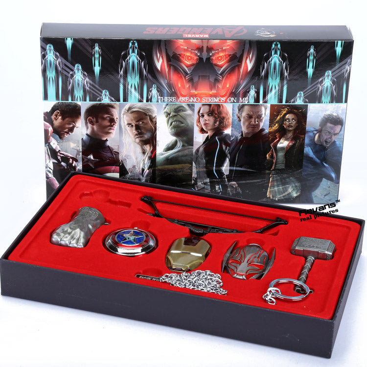 6pcs/set  Avengers Age of Ultron Cosplay Weapons Thor Hammer Necklace Metal Figure toys Model Collectible