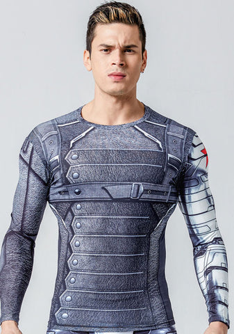 Image of New 3D Winter Soldier Avengers 3 Compression Shirt Men Long Sleeve