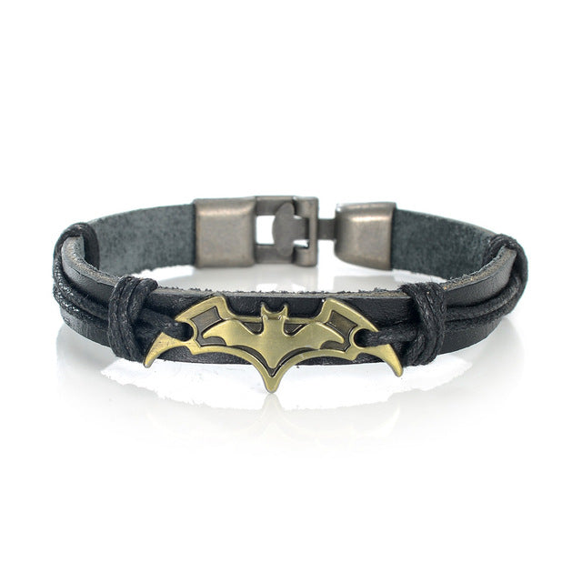 10 Types Iron Man Batman Superman Punk PU Retro Hand Made Bracelet