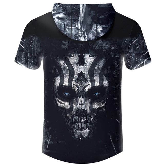 New Hoodies T-shirt Men T Shirt Black Horror Terrifying Skull 3D Print Harajuku Hip Hop Hooded Tshirt Unisex Brand Clothing 6XL