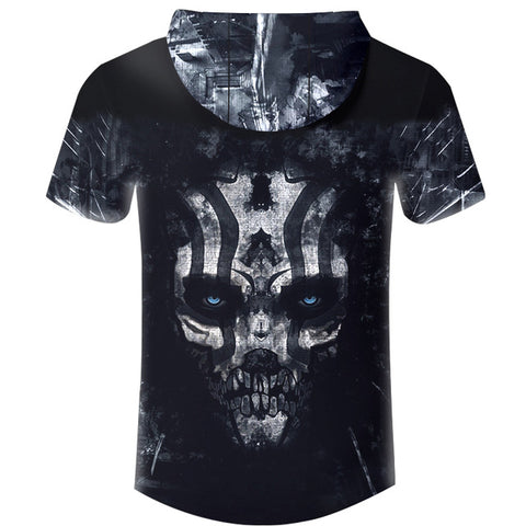 Image of New Hoodies T-shirt Men T Shirt Black Horror Terrifying Skull 3D Print Harajuku Hip Hop Hooded Tshirt Unisex Brand Clothing 6XL