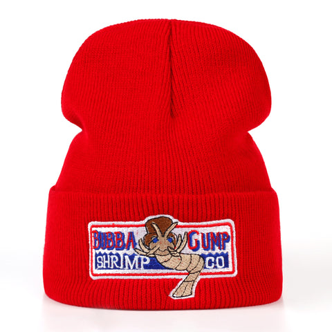 Image of BUBBA GUMP Warm autumn and winter Cotton Red Beanies Caps Hat