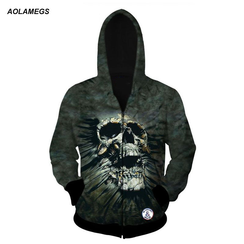 Men Women   Skull 3D Printing Hip Hop Hoodie Sweatshirt