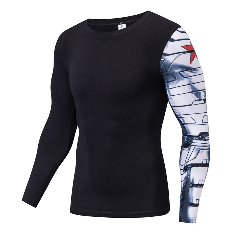 Captain America  Ironman Arm Fitness  Costume Winter Soldier T-shirt Mens Long Sleeve