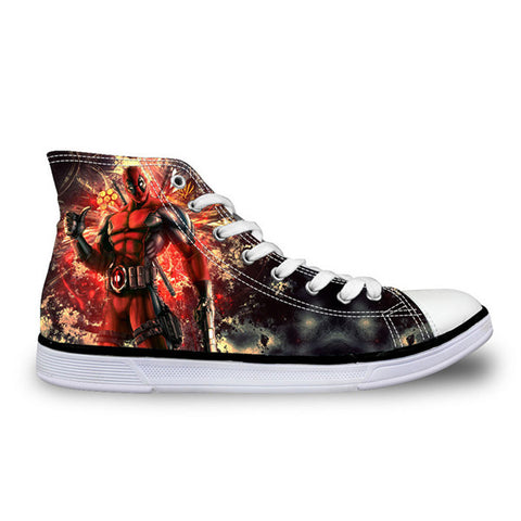 Image of Super Hero Deadpool Printed Casual High top Canvas Shoes