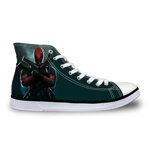 Super Hero Deadpool Printed Casual High top Canvas Shoes