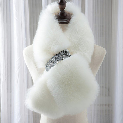 Image of Women Winter Warm Scarf Faux Fur Collar Solid 7 Colors Faux mink scarf shawl wrap With bling Diamonds Fashion Style christmas