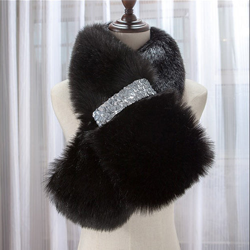 Women Winter Warm Scarf Faux Fur Collar Solid 7 Colors Faux mink scarf shawl wrap With bling Diamonds Fashion Style christmas