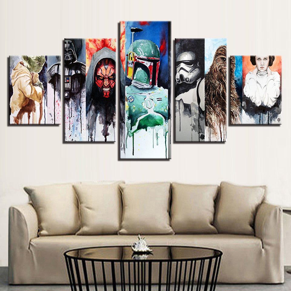 Star Wars Paintings HD Canvas 5 Pieces Poster