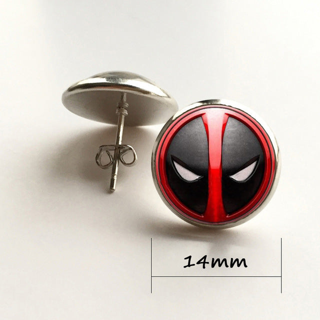 Black And Red Deadpool Cabochon  Necklace