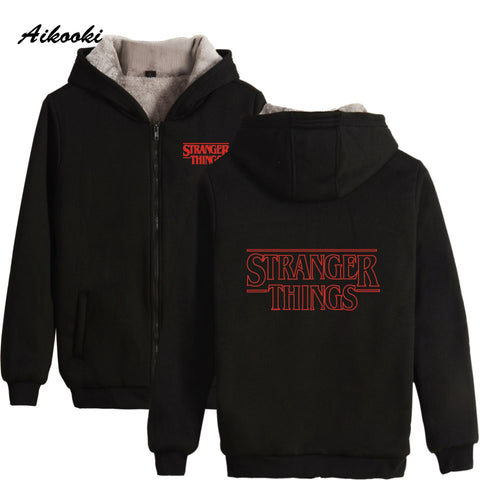 Image of Aikooki Stranger Things Villus Thicker Zipper Hoodies Sweatshirt