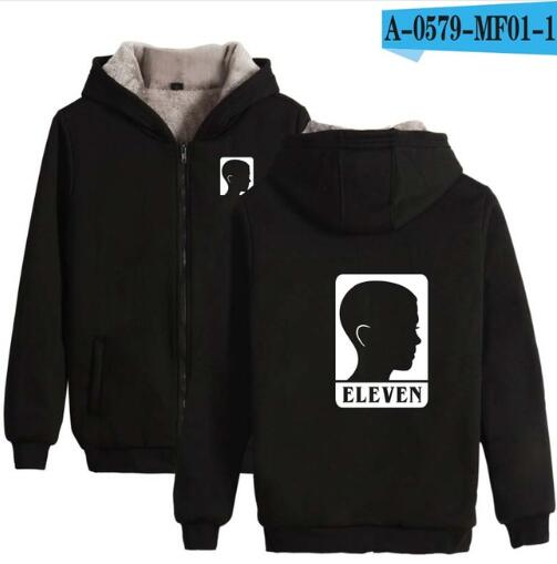 Aikooki Stranger Things Villus Thicker Zipper Hoodies Sweatshirt
