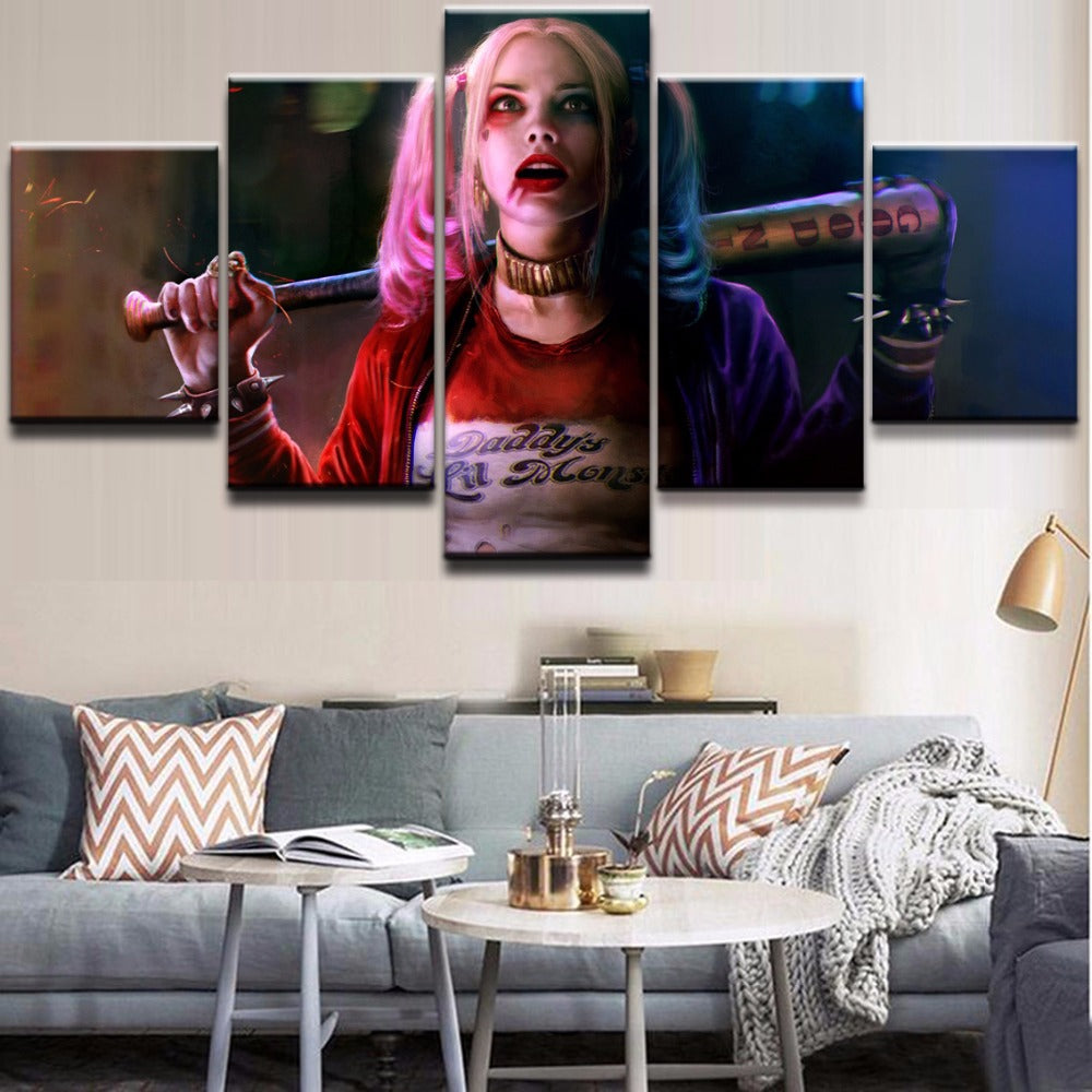 Harley Quinn Canvas 5 Pieces Poster