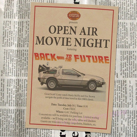 Image of Back To The Future Classic Vintage Nostalgic Movie Kraft Paper Poster