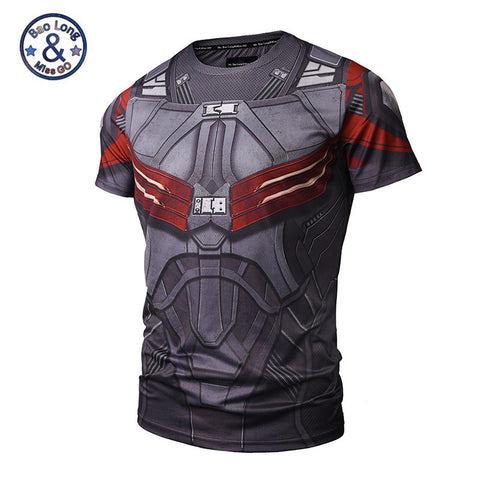 Image of Captain America Men's Falcon Compression Shirt 3D Anime Sexy Fitness T shirt