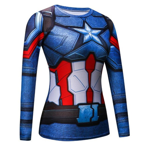 Image of Black Panther Women Captain America  Compression Shirt 3D Printed T-shirts