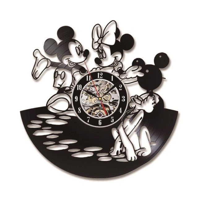 CD Mickey Mouse Record Wall Clock Vinyl Creative LED Clock