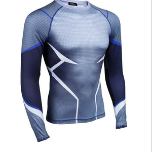Superhero The Avenger QickSilver Mens Long Sleeve Fitted Compression 3D T-shirt
