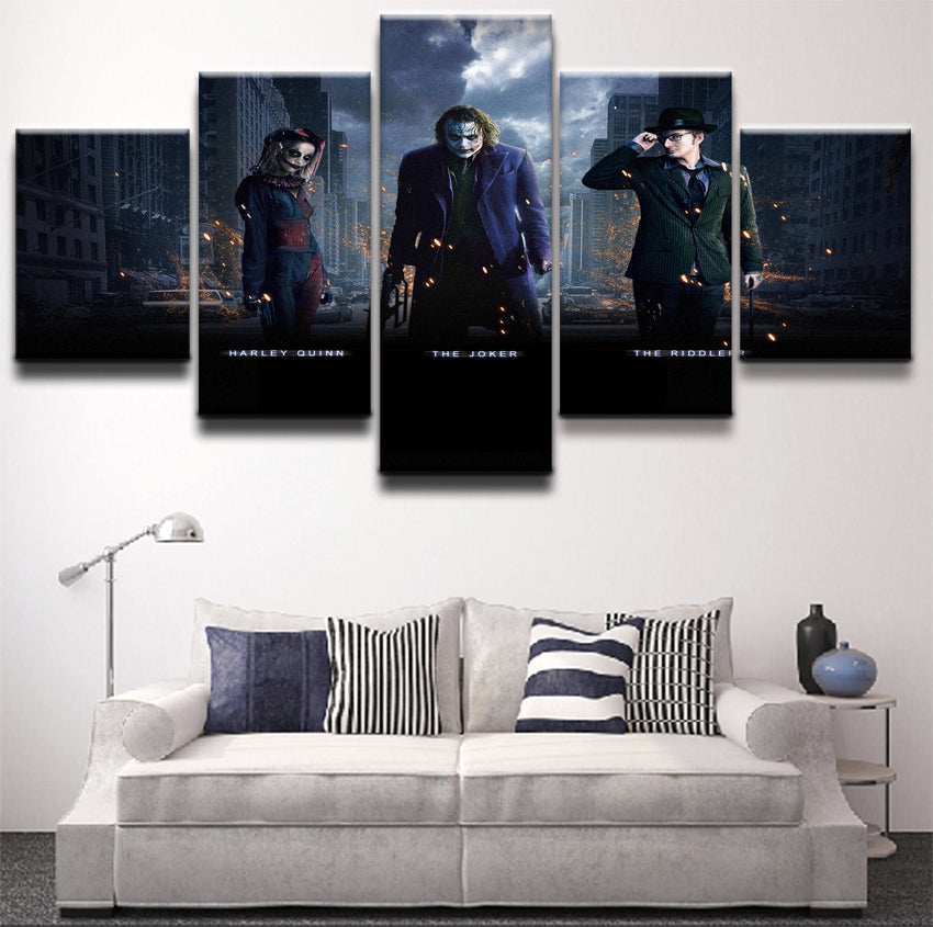 Harley Quinn Joker Canvas  Print 5 Pieces Poster