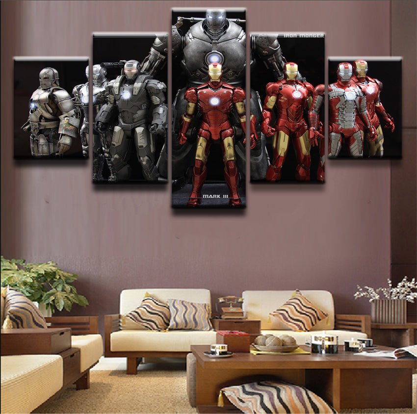 Iron Man Canvas Print 5 Pieces Poster