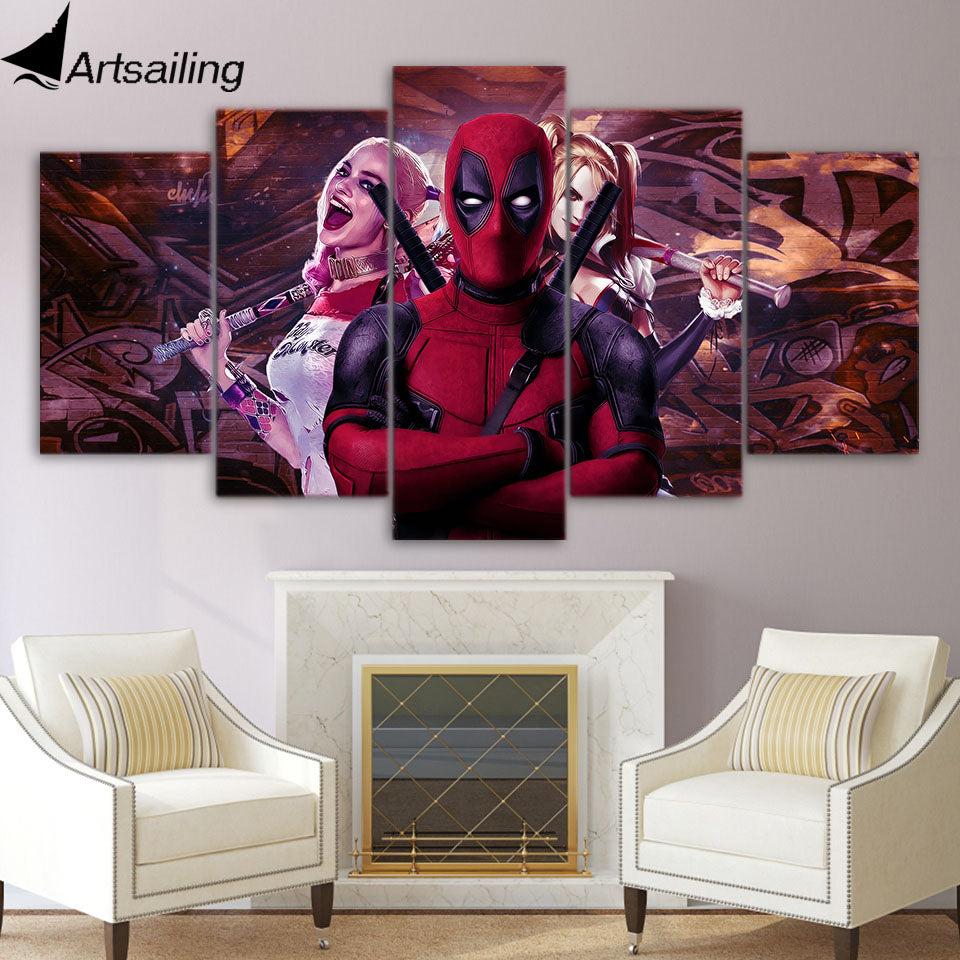 Deadpool and harley quin 5 piece canvas poster