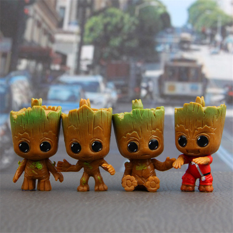 4pcs/lot Universe War Guardians Galaxy Groot Doll 50mm Snap Button Car Decoration Cartoon Humanoid Doll