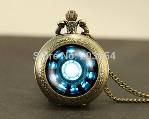 Iron Man Tony Stark Arc Reactor 1pcs Pocket Watches Locket necklace