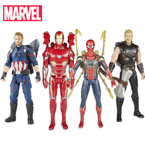 Image of 30cm Electronic Marvel Avengers Infinity War Captain America Spider Thor Iron Man Action Figure Toys