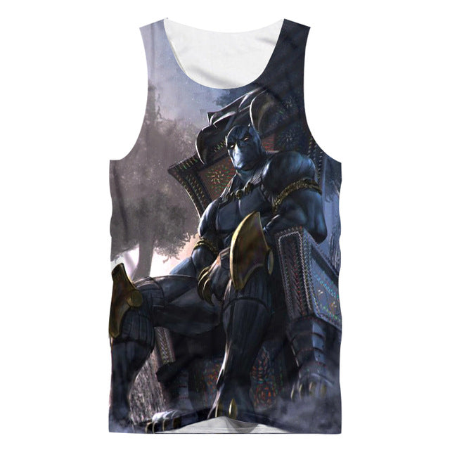 Black Panther Printed 3D Tank Top