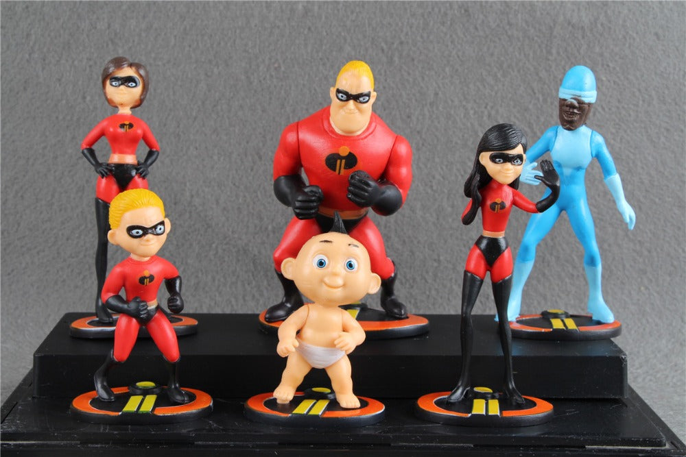 6pcs/set The Incredibles movie Super Man Family figure toys