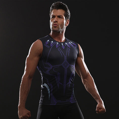 Image of Black Panther 3D Printed Men Compression Shirt ( Tank top )
