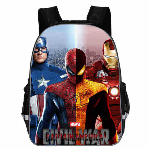 Image of 13 Inch Avengers Iron Man Captain America Hulk Thor War School Bags Backpacks