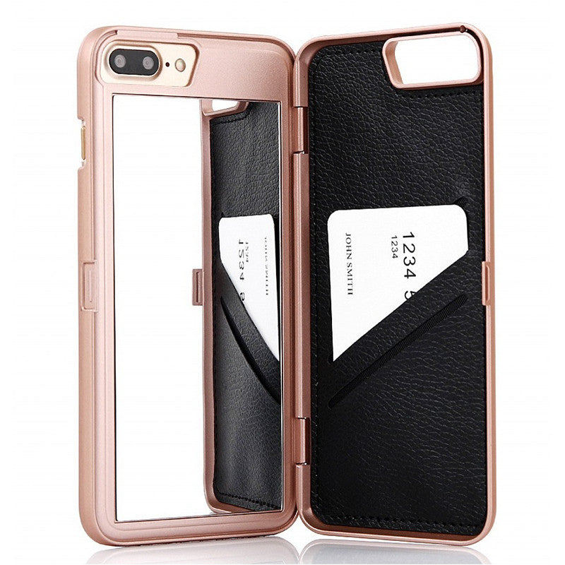 Luxury Lady Make up 3D Dual Layer Mirror Card Holder iPhone Case