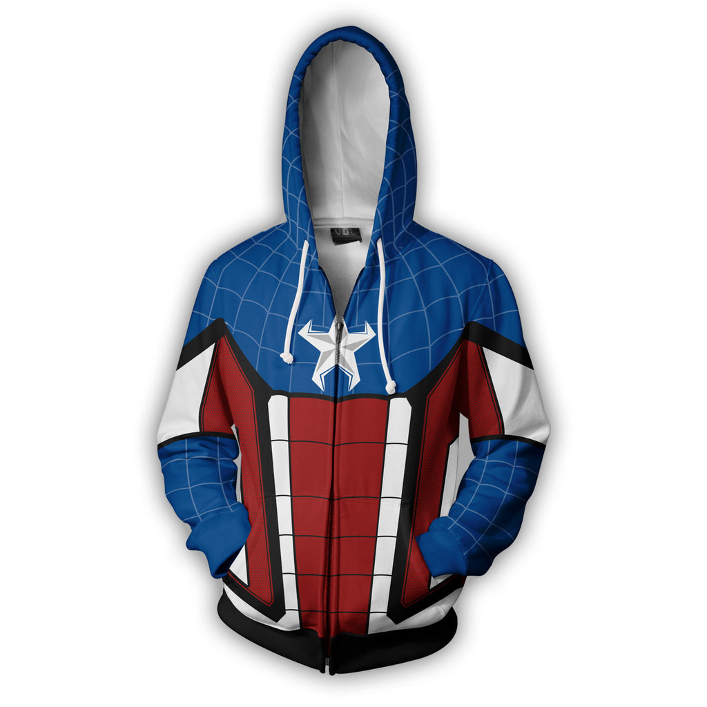 Captain Spider Zip Up Hoodie