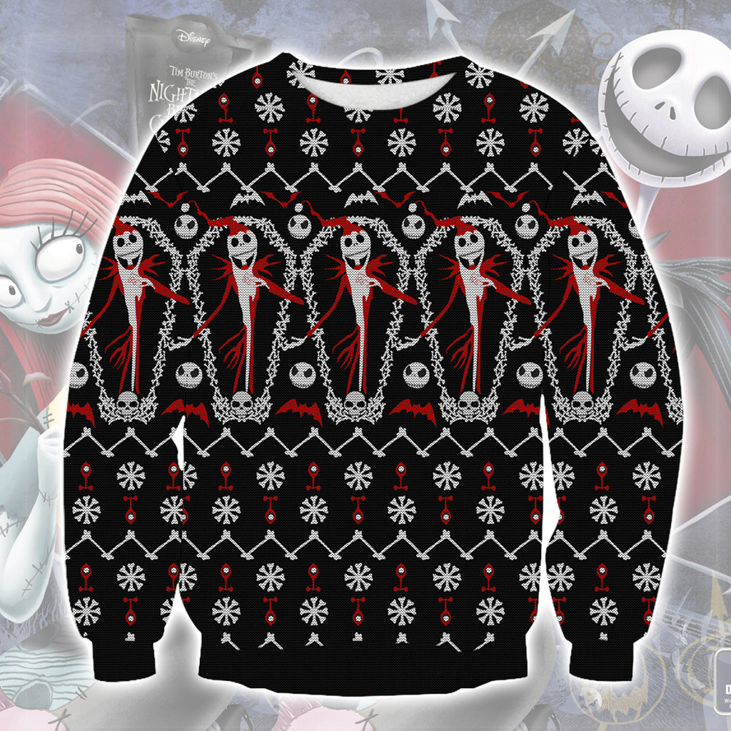 The Nightmare Before Christmas Knitting Pattern All Over Print Ugly ...