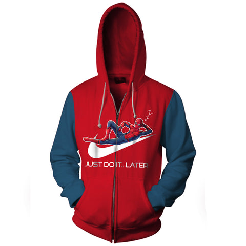 Image of Spider Man Just Do It Later Zip Up Hoodie