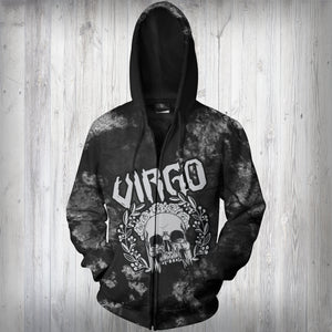 VIRGO MAN - SYMBOL ON BACK - ZODIAC Zip Up Hoodie