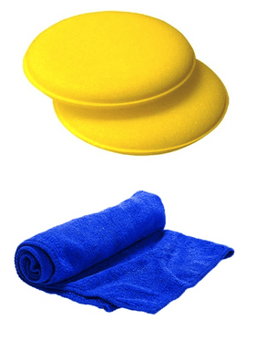 2 x Foam Wax Applicators & 1 x Soft Blue Microfibre Cloth Microfibre cloths Monster Detail