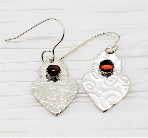 Delicate Sacred Heart Sterling Silver and Carnelian Drop Earrings