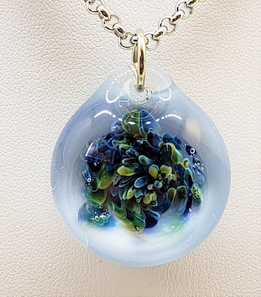 Art Glass Pendant, Boro glass, Coral Reef, #3056, artisan, blown,